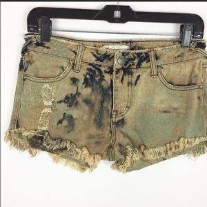 Free People Hannah Was Army Camo cutoff shorts 25